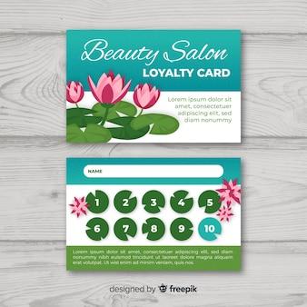 Modèle de carte de fidélité colorée avec style floral