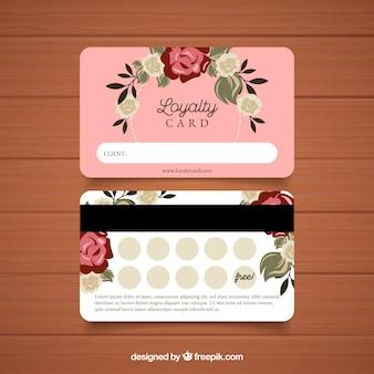 Modèle de carte de fidélité avec concept floral