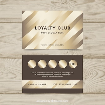 Modèle de carte de fidélité de luxe avec un style or