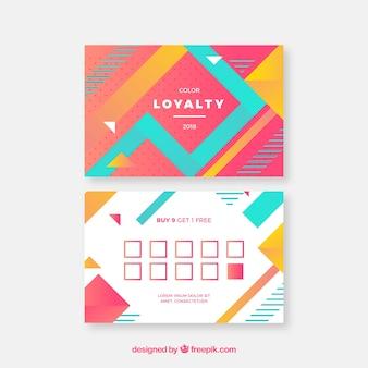 Modèle de carte de fidélité moderne avec un style coloré