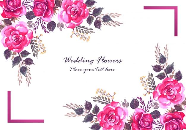 Modèle de carte de fleurs colorées décoratives abstraites