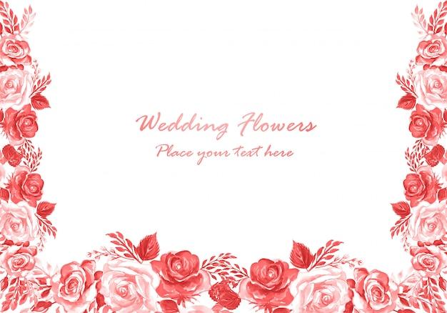 Modèle de carte de fleurs décoratives aquarelle invitation de mariage