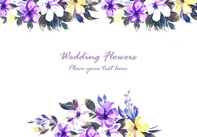 Modèle de carte de fleurs de mariage colorées à la main ornementale