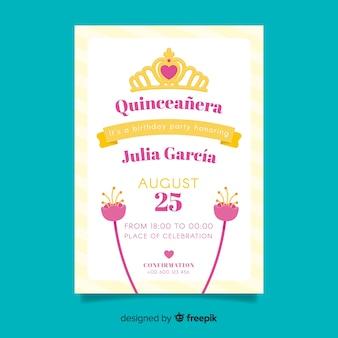Modèle de carte de fleurs plates quinceanera