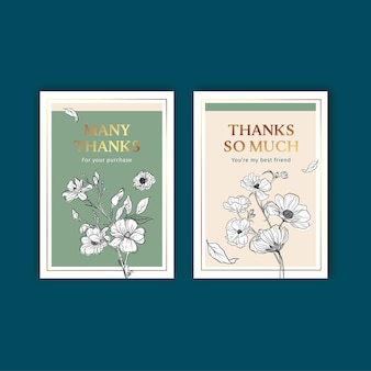 Modèle de carte floral avec illustration aquarelle de printemps ligne art concept design