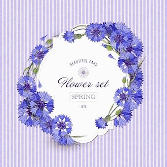 Modèle de carte floral vintage avec bleuets