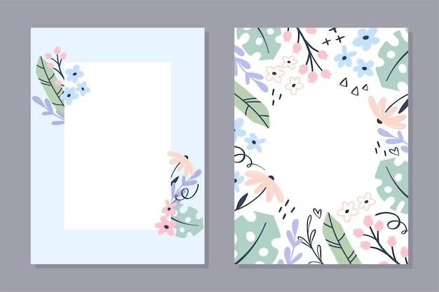 Modèle de carte florale. ensemble de cartes postales simples dessinées à la main avec des fleurs et des feuillages aux couleurs pastel.