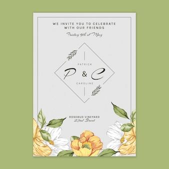 Modèle de carte florale pour mariage