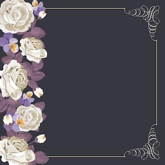 Modèle de carte de la flore avec des roses blanches et cadre calligraphique carré.