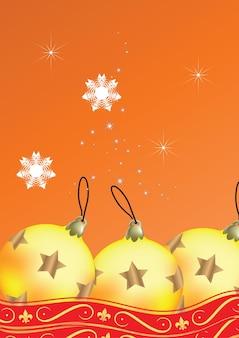 Modèle de carte ou de flyer joyeux noël avec boule de noël dorée