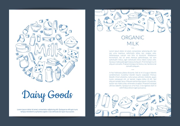 Modèle de carte ou flyer avec place pour texte et éléments laitiers dessinés à la main sur blanc