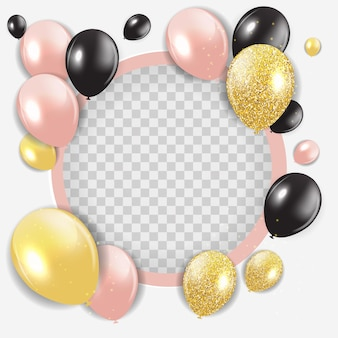 Modèle de carte de fond abstrait joyeux anniversaire avec des ballons.