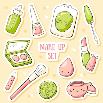 Modèle de carte de griffonnage dessiné main avec des objets de maquillage mignon