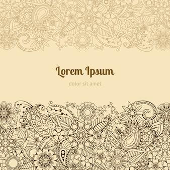 Modèle de carte henna mehndi