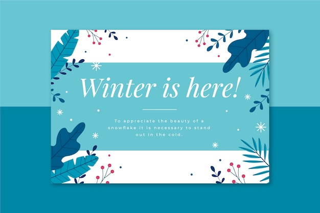 Modèle de carte d'hiver illustré