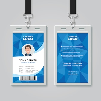 Modèle de carte d'identification de bureau polygone bleu