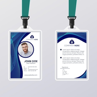 Modèle de carte d'identité abstraite bleu foncé