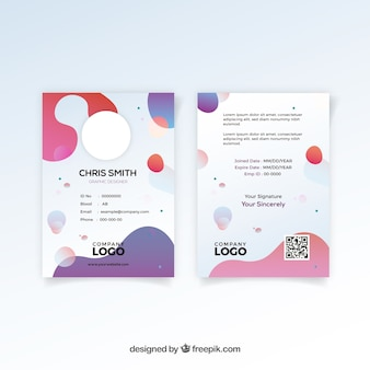 Modèle de carte d'identité abstraite avec un design plat