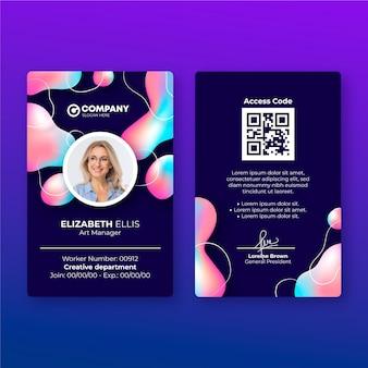 Modèle de carte d'identité abstraite avec photo