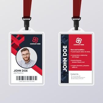 Modèle de carte d'identité abstraite rouge et noir