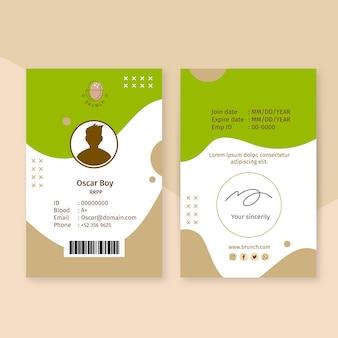 Modèle de carte d'identité de brunch