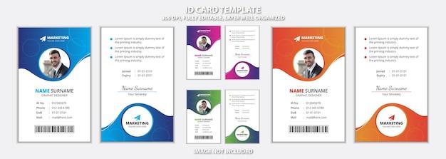 Modèle de carte d'identité de bureau créatif avec quatre variations de couleurs de dégradé