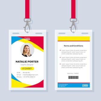 Modèle de carte d'identité de bureau avec photo