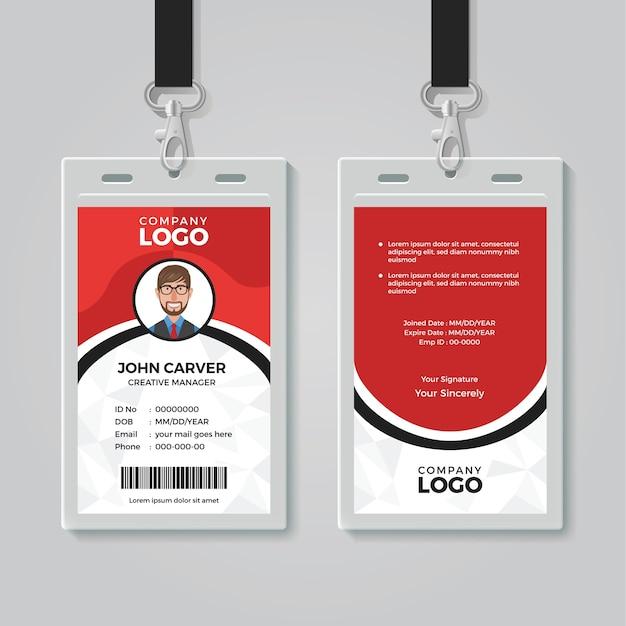 Modèle de carte d'identité de bureau rouge et blanc