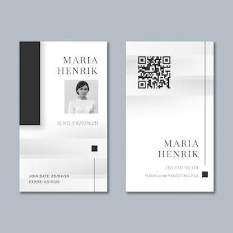 Modèle de carte d'identité commerciale marketing