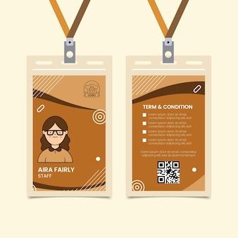 Modèle de carte d'identité de cookies