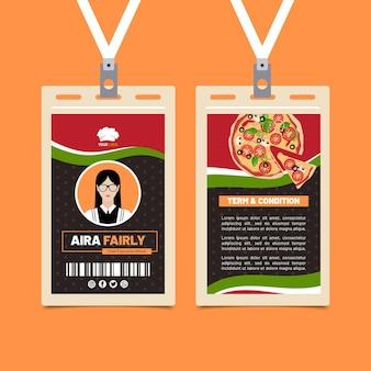 Modèle de carte d'identité de cuisine italienne