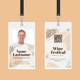 Modèle de carte d'identité de dégustation de vin