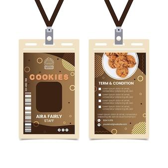 Modèle de carte d'identité de délicieux cookies