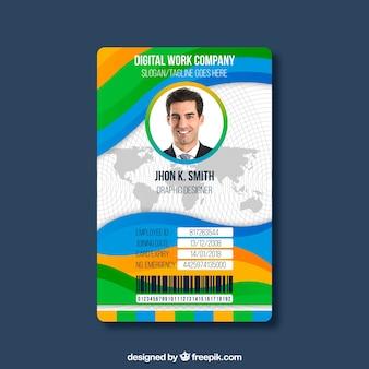 Modèle de carte d'identité avec un design plat