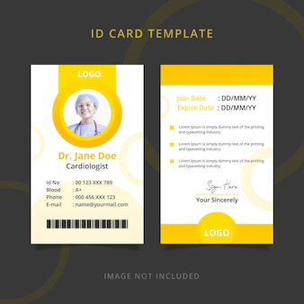 Modèle de carte d'identité du personnel médical