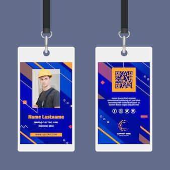 Modèle de carte d'identité d'électricien