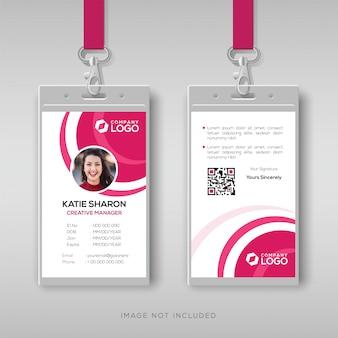 Modèle de carte d'identité élégant avec des détails roses