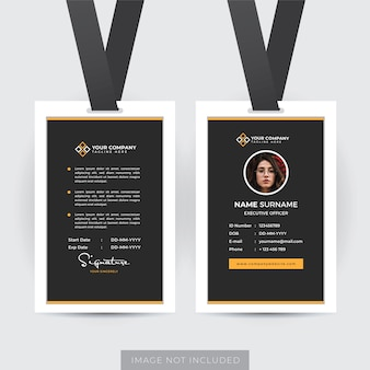 Modèle de carte d'identité d'employé professionnel