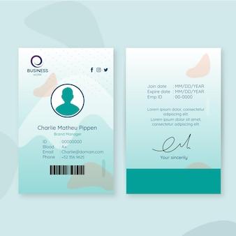 Modèle de carte d'identité d'entreprise avec avatar