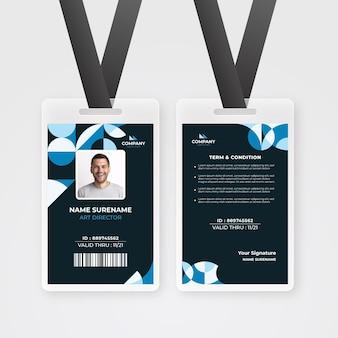 Modèle de carte d'identité avec des formes minimales