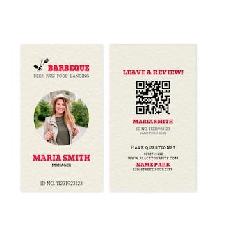 Modèle de carte d'identité de gestionnaire de barbecue