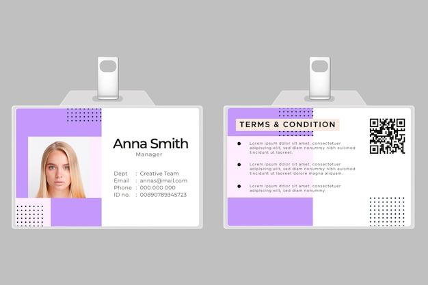 Modèle de carte d'identité horizontale avant et arrière avec photo