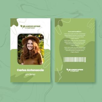 Modèle de carte d'identité de jardinage