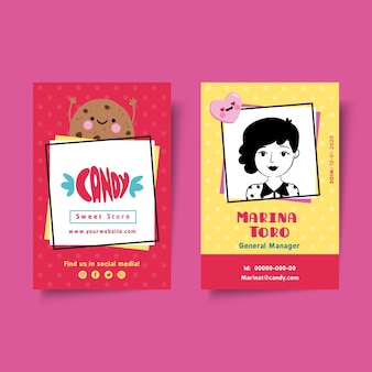 Modèle de carte d'identité de magasin de bonbons