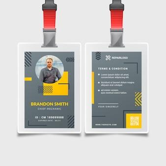 Modèle de carte d'identité de mécanicien avec photo