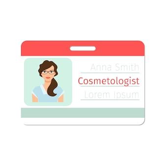 Modèle de carte d'identité de médecin spécialiste en cosmétologie