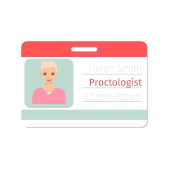 Modèle de carte d'identité de médecin spécialiste proctologue