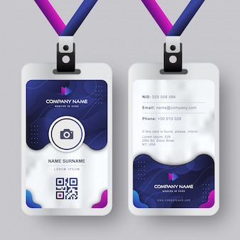 Modèle de carte d'identité moderne avec dégradé bleu marine design abstrait liquide