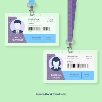 Modèle de carte d'identité plate avec fermoir et lanière