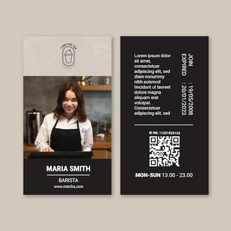 Modèle de carte d'identité de thé matcha